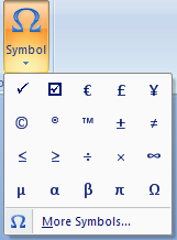 Tick mark symbol in Word and Excel