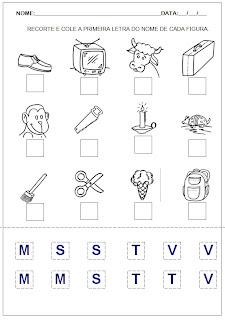 Hipótese de escrita pré-silábica - Recorte e cole a letra inicial 5.