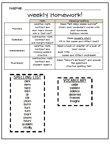 Printables Spelling Homework Worksheets fourth and ten lets talk homework homework