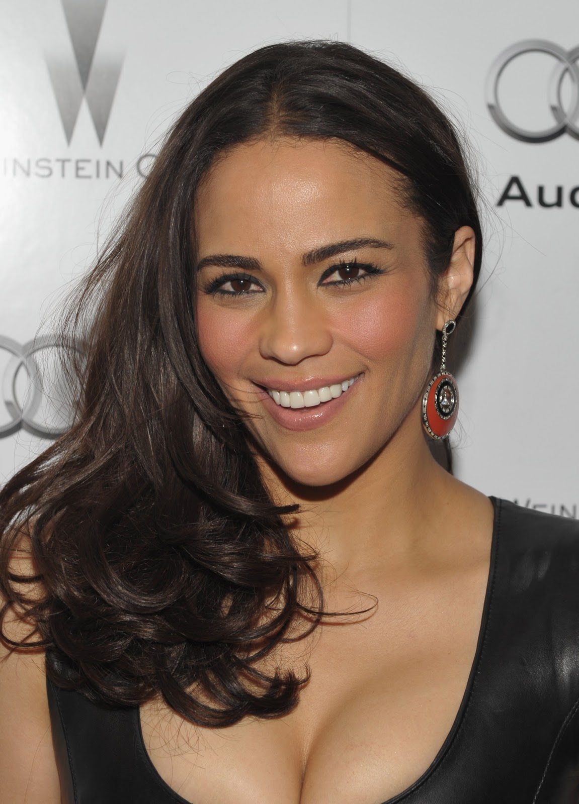 Paula Patton's Leather Cleavage