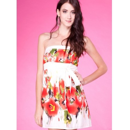 RED SLEEVELESS FLORAL PRINT DRESS