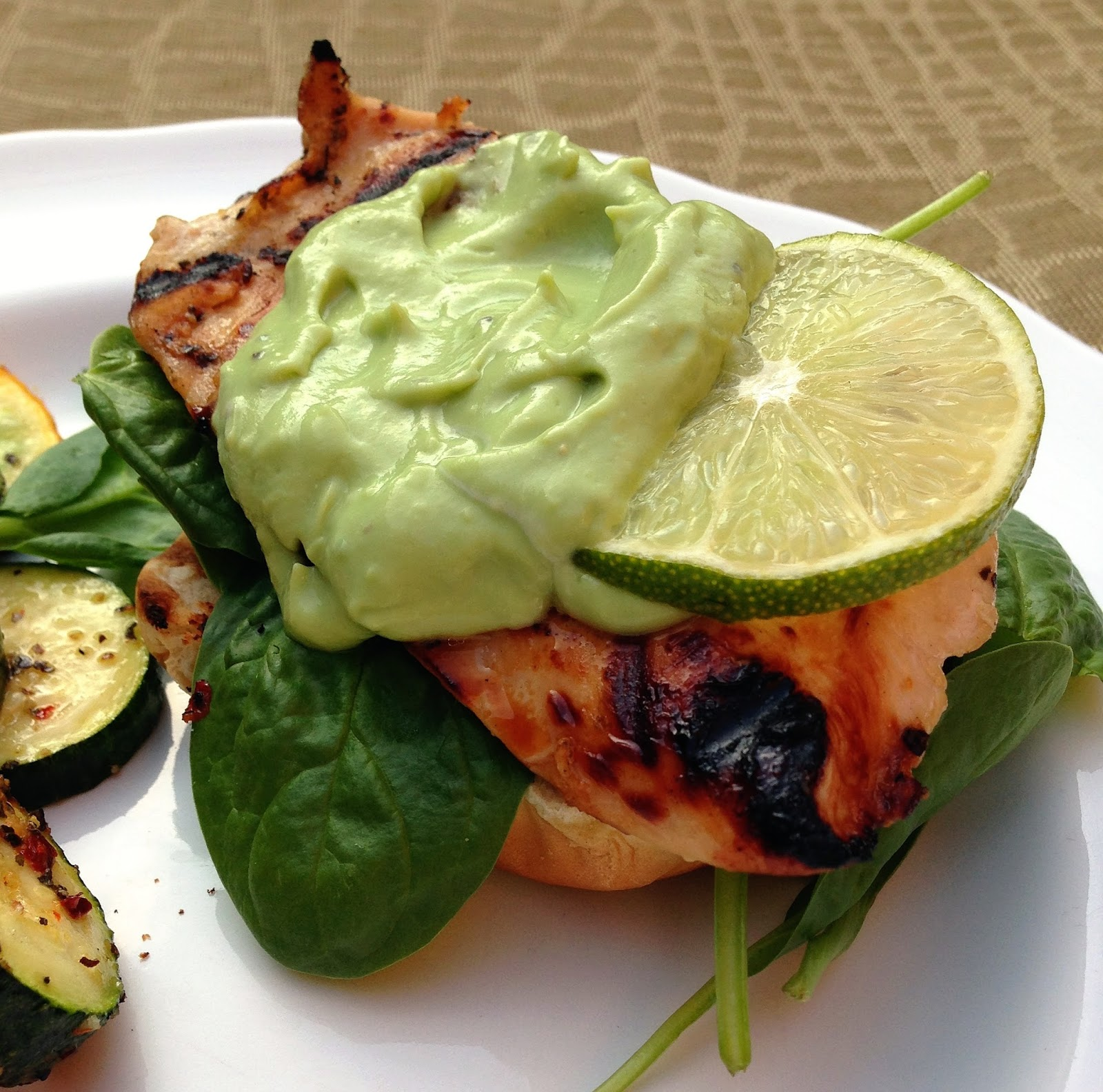 ... grilled honey lime chicken sandwiches with avocado lime cream sauce