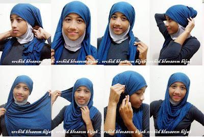 cara tutorial bergambar memakai Jilbab Modern terbaru