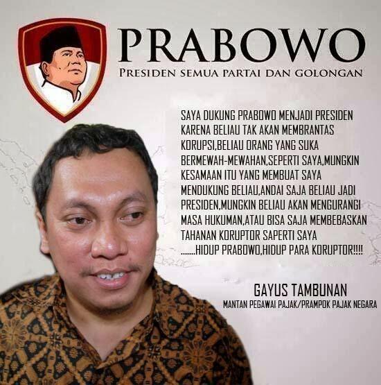 Gayus Koruptor Pajak Pendukung Prabowo