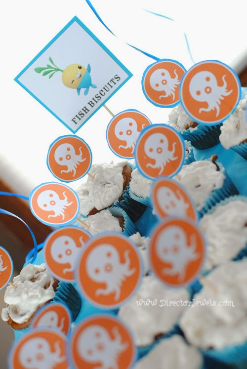 Octonauts Birthday Party Food Ideas | Tunip's Fish Biscuits Cupcakes - Allergen Free | Under the Sea Party at directorjewels.com