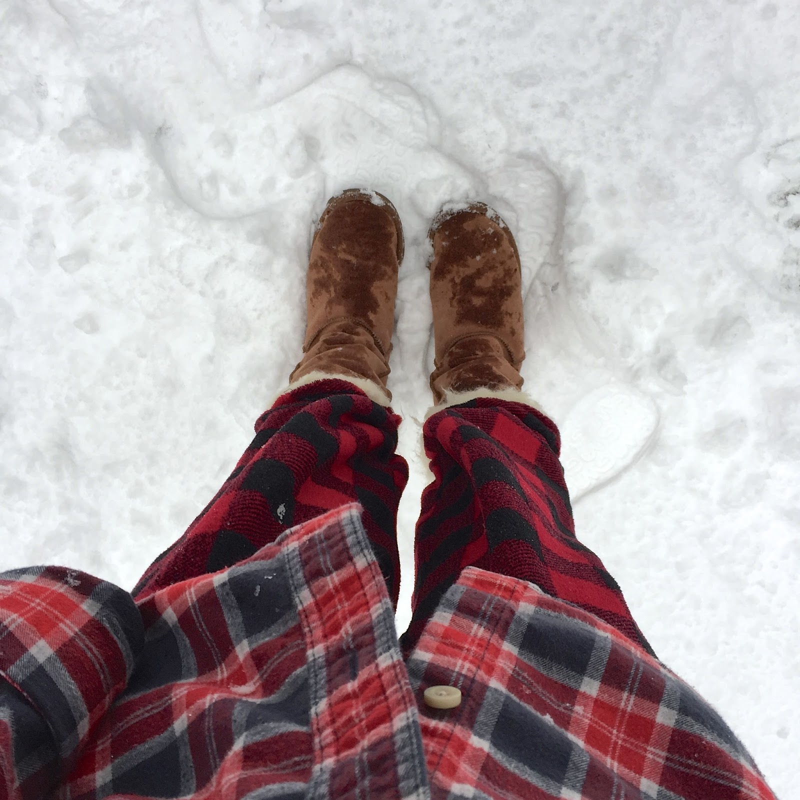 cozy outfit view from the top wearing ugg boots in the snow