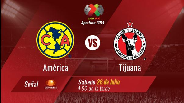 Trasmisión en vivo América vs Xolos Tijuana Futbol Mexicano
