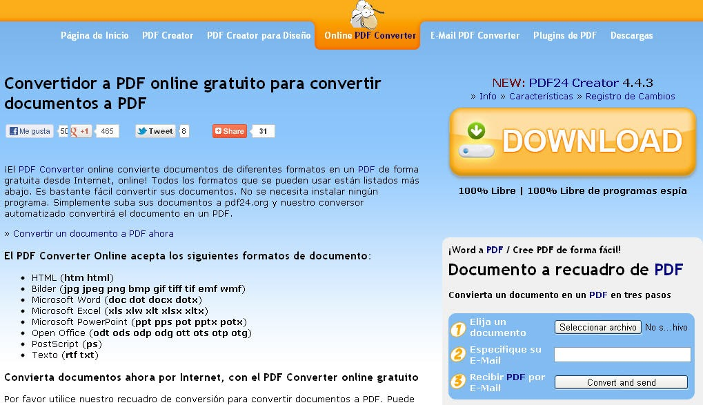 Pdf24 puede convertir a pdf documentos de office y m s una zona geek - Convertir pdf en open office gratuit ...