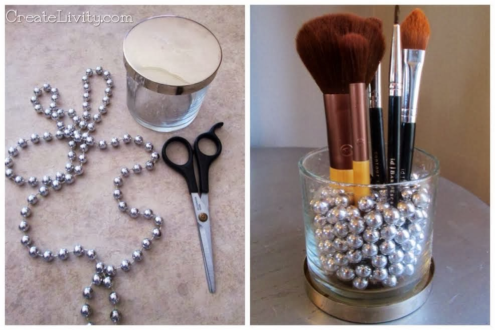 brush holder beads. upcycle: candle jar \u0026 mardi gras beads into makeup brush holder