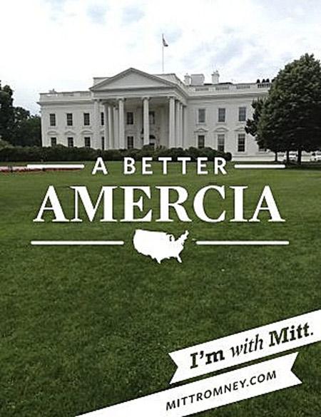 mitt romney campaign poster misspells america