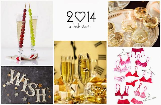 Spanish tradition New Year's Eve (12 lucky grapes, gold and red underwear) / 12 uvas de la suerte, oro en la copa de cava y ropa interior roja - Nochevieja 2014