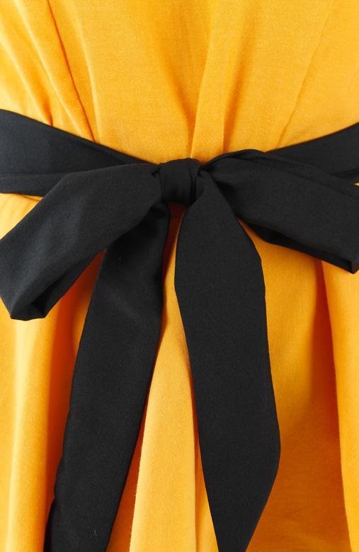 Yellow Sartorial Evening Black Bow Top