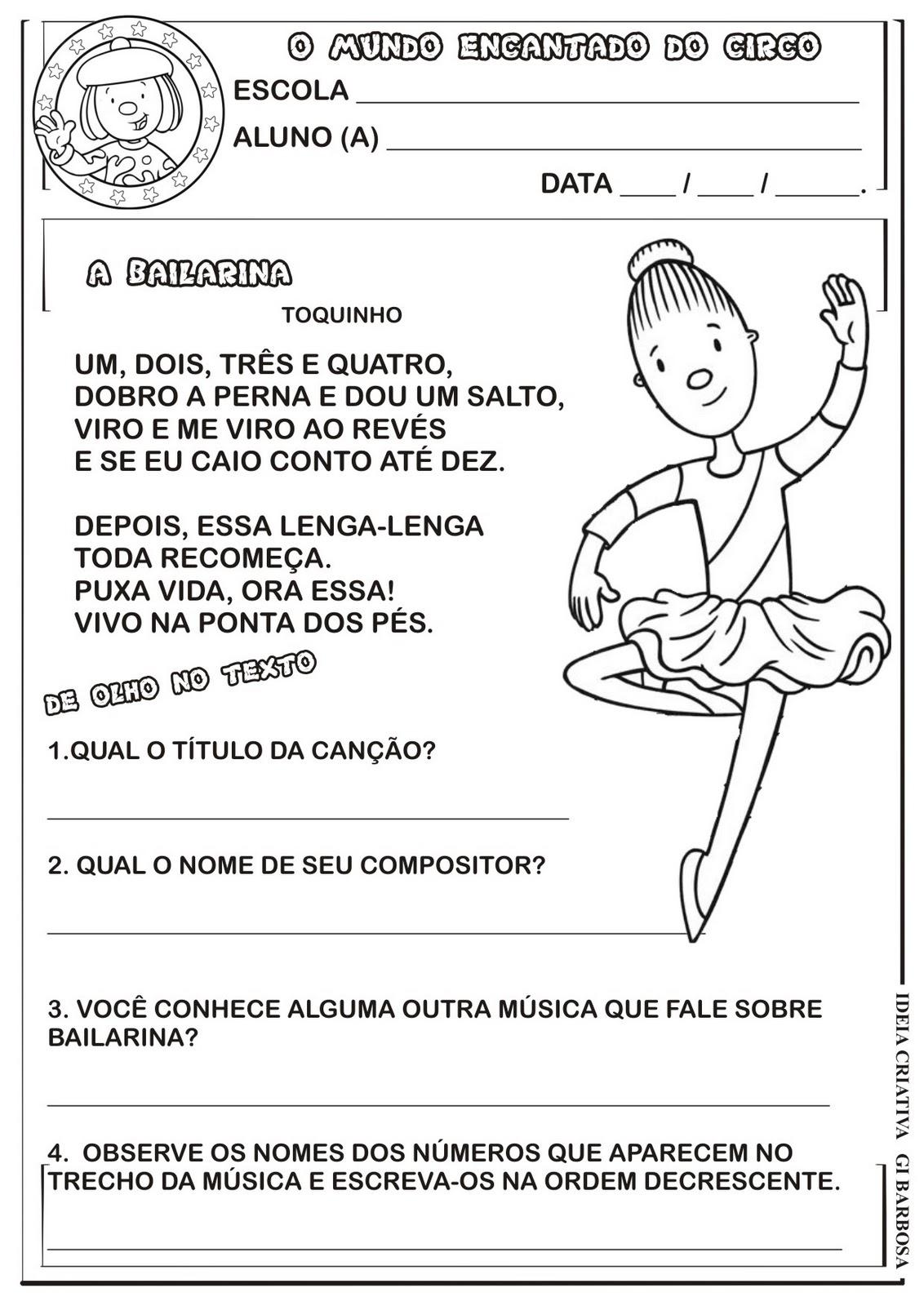 Atividade Texto Interpretação Projeto Circo