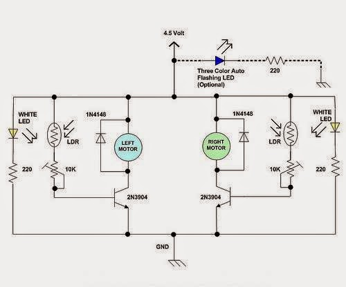electrical engineering world a simple line following robot circuit diagram
