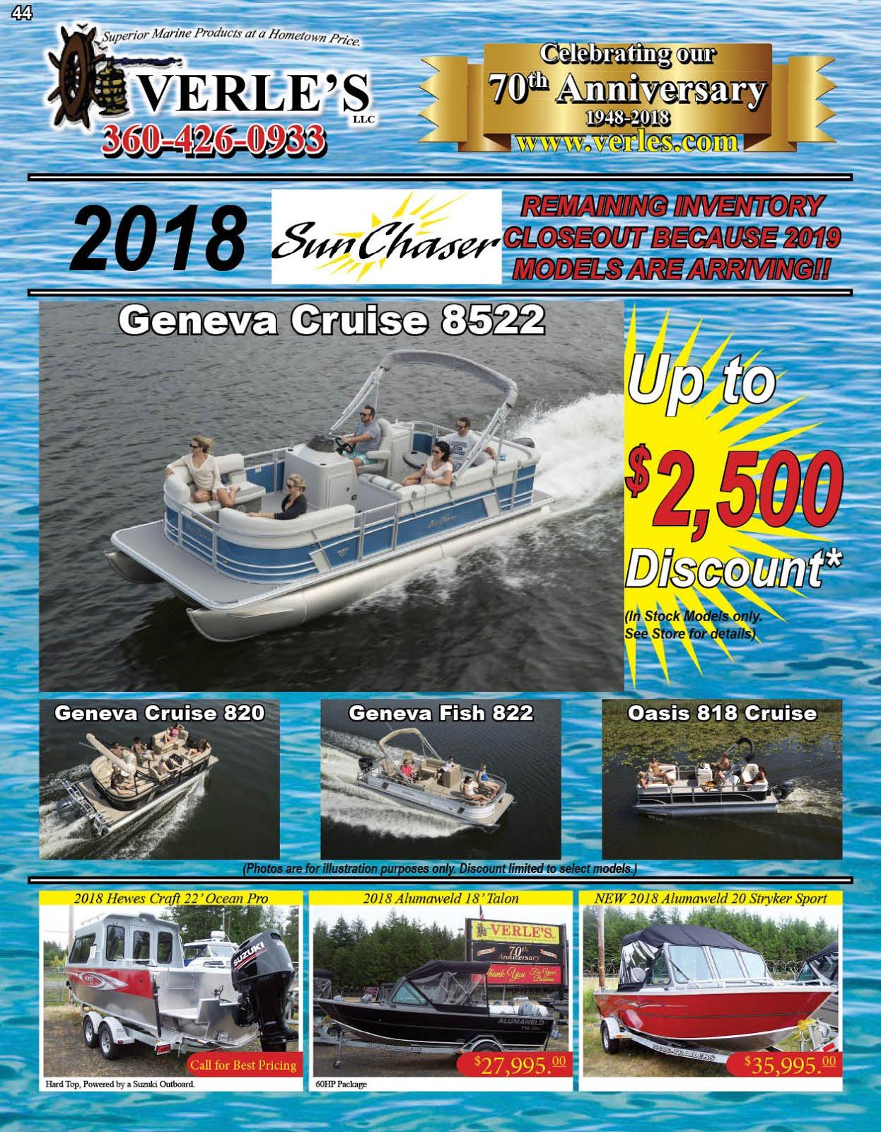 Verles 70th Anniversary!! Specials On Boats Marine Gear Tackle Guns Ammo!!