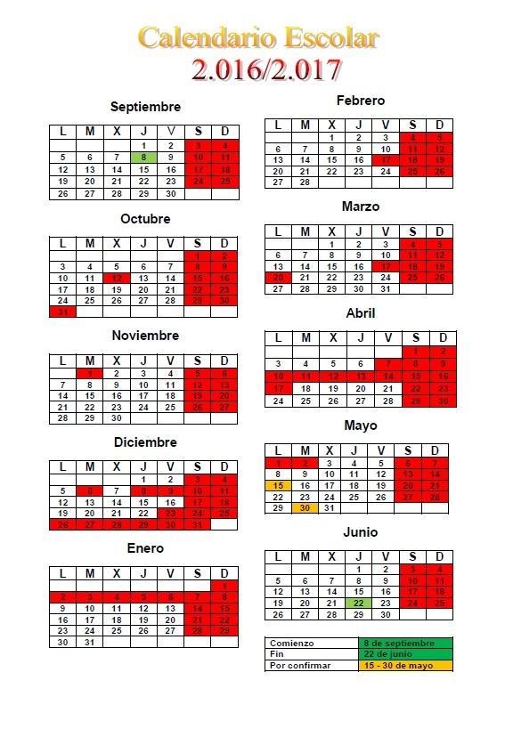 CALENDARIO ESCOLAR 2016 - 2017