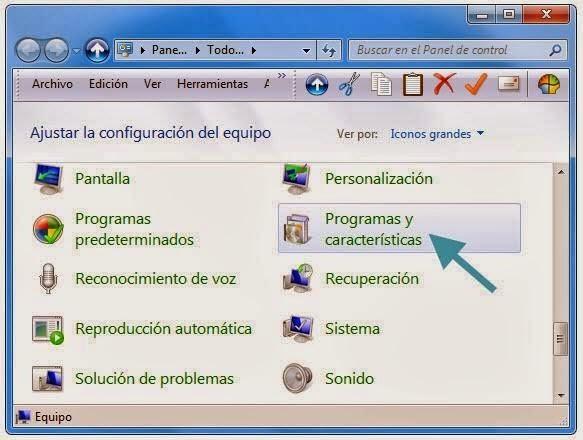 Desinstalar programas del panel de control