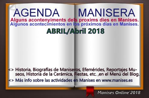 AGENDA MANISERA, ABRIL 2018