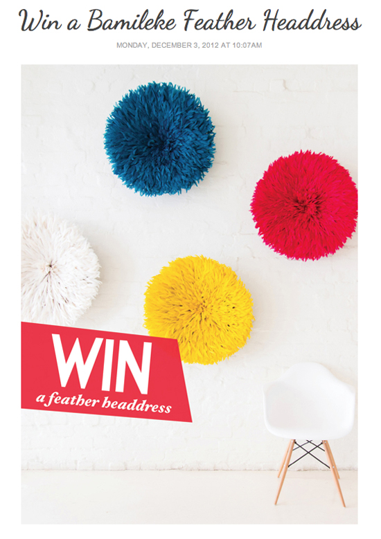 Safari Fusion blog | Adore Home giveaway | Win a Safari Fusion Bamileke Feather Headdress!