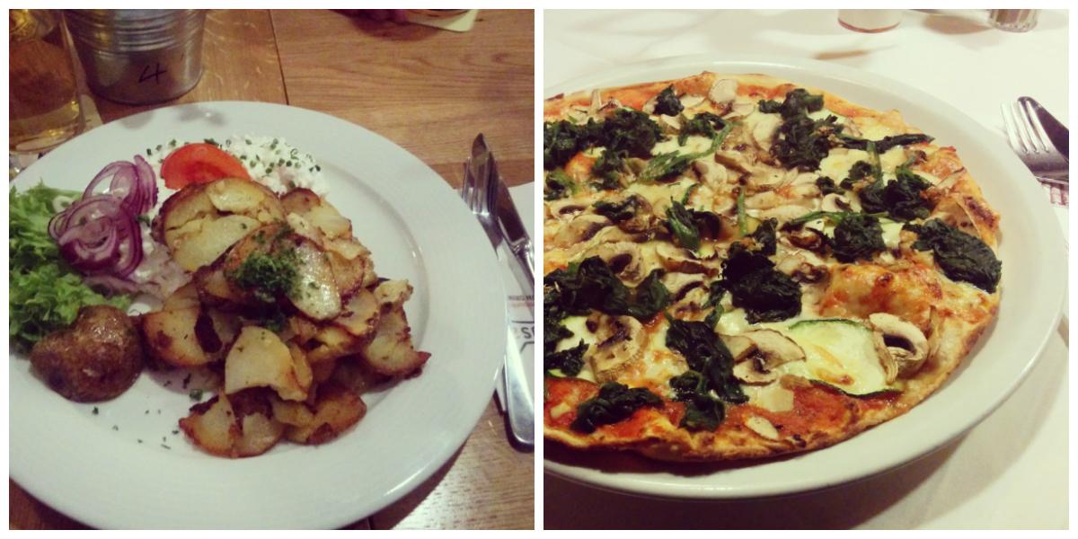 Bratkartoffeln und Veggie Pizza