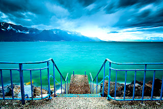 Lake Leman, Switzerland in winter
