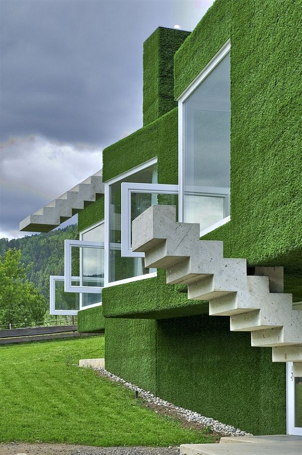 Modern architecture home to the green coated cubic for Modern green home plans