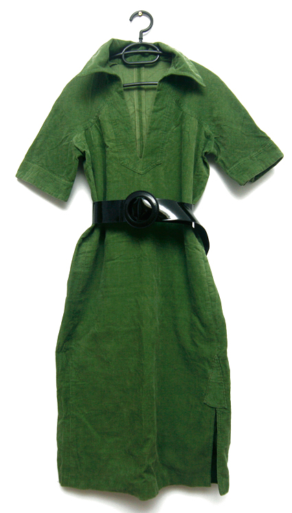 rochie catifea raiata verde pentru toamna sau primavara unicat