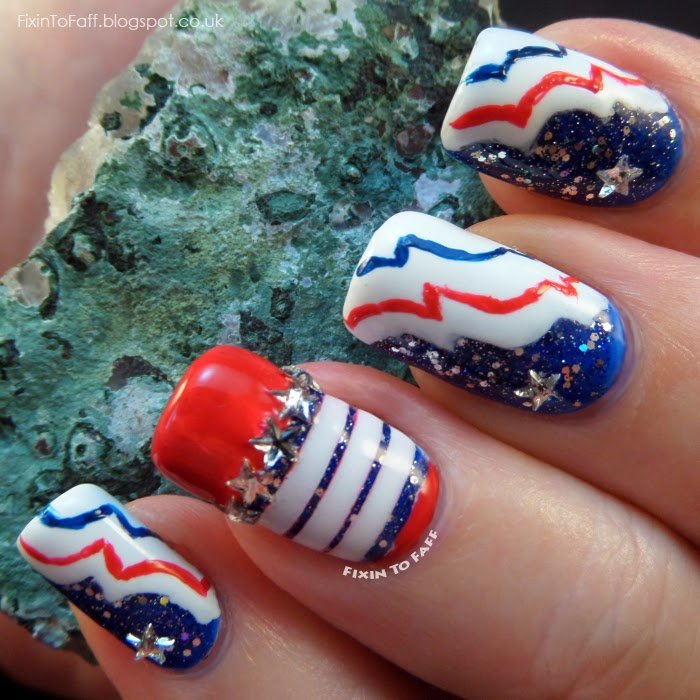 Patriotic Nail Art red white blue stars stripes
