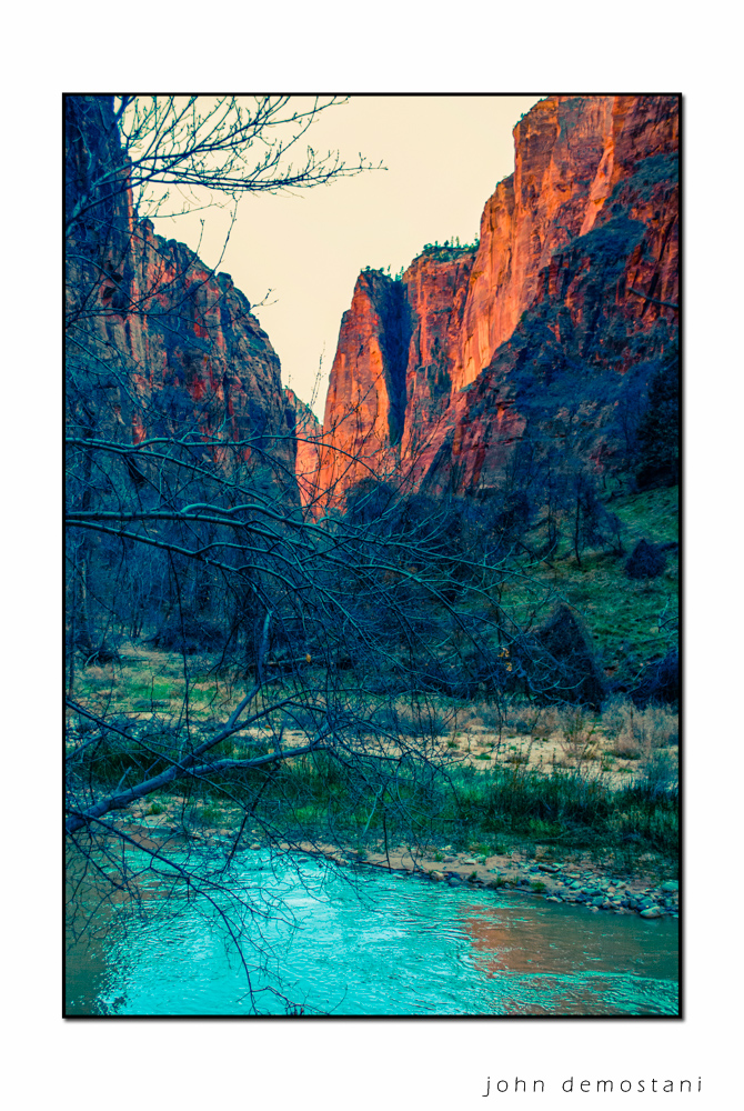 Zion National Park, Landscape Photography, Mountains, rocks, rugged terrain, sunset, colorful geological features, golden rocky mountains,trees at sunset, Virgin River