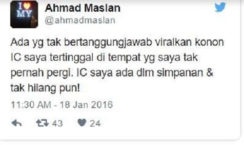 Penjelasan Ahmad Maslan di Twitter