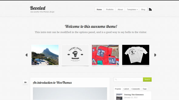 Beveled Wordpress Theme Free Download by WooThemes.