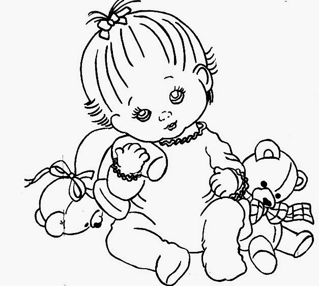 risco bebe menina com dois ursinhos de pelucia para pintar em fraldas