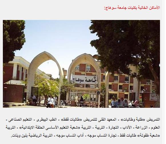 الكليات المتاحه فى تنسيق المرحله الثانيه فى جامعة بورسعيد وسوهاج وكفر الشيخ 2014 تنسيق الثانويه العامه