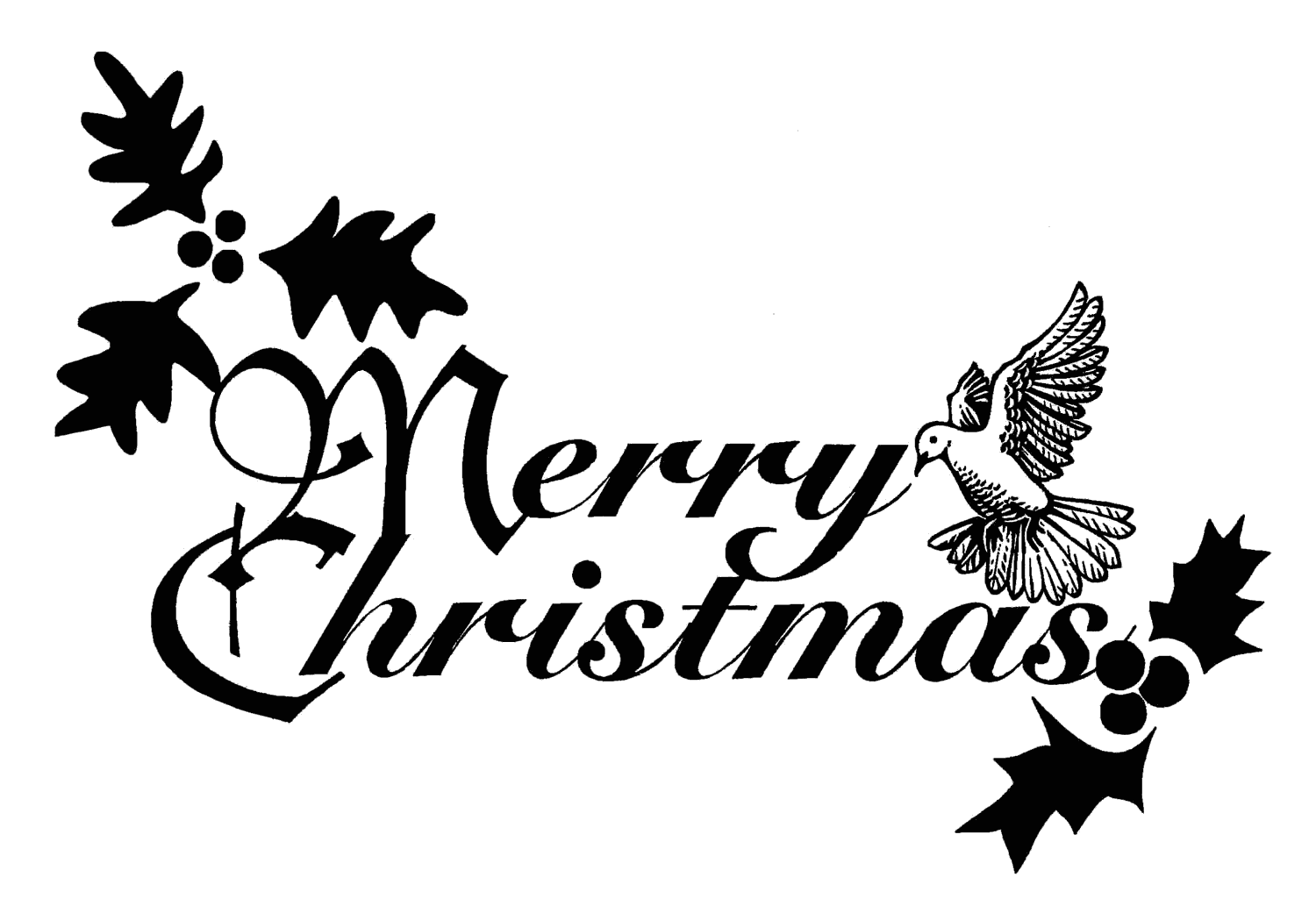 Merry Christmas design black and white clip art image with dove and ...