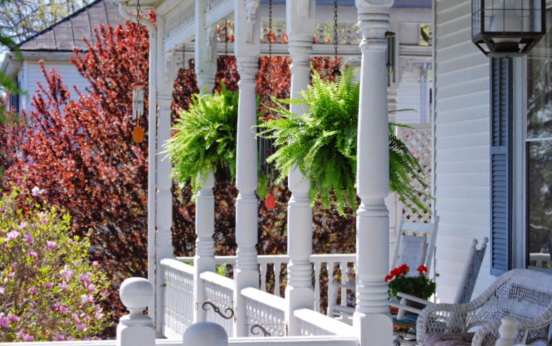 Sit a spell on the porch then Walk to Bootleggers Cafe from The Claiborne House Bed and Breakfast Rocky Mount VA
