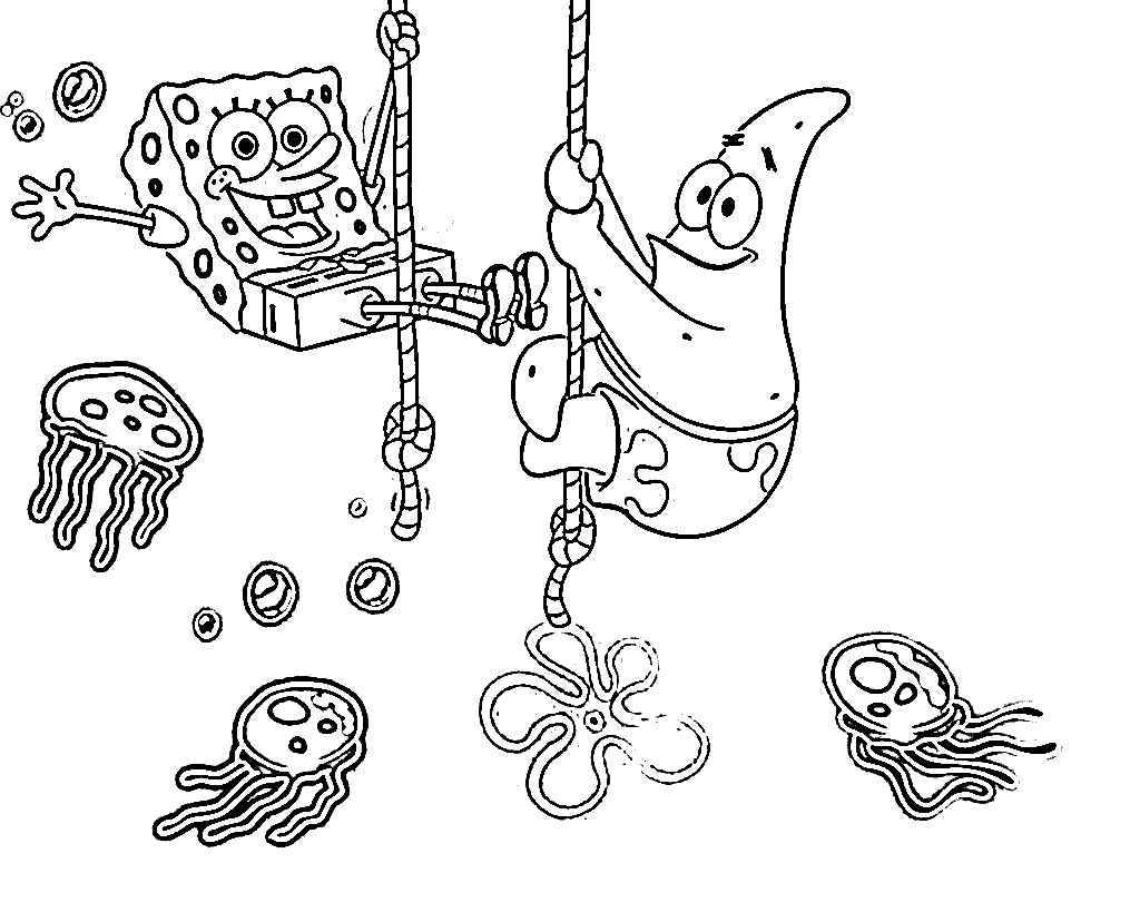 Spongebob jellyfish coloring pages for colored for Jelly fish coloring page