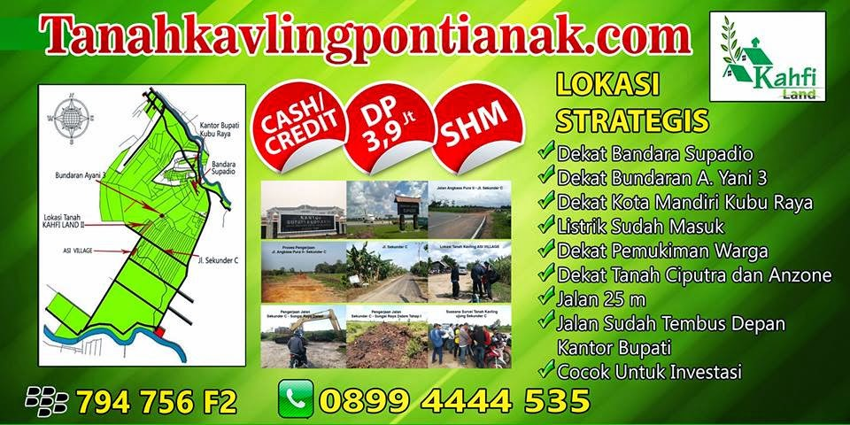 Tanah kavling Kredit Pontianak, Kavling Murah Pontianak, Harga Tanah Pontianak, Tanah di Pontianak, Jual Beli Tanah Pontianak