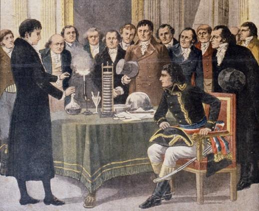 storia della lampadina : Volta e la sua Pila difronte a Napoleone e ai suoi ministri