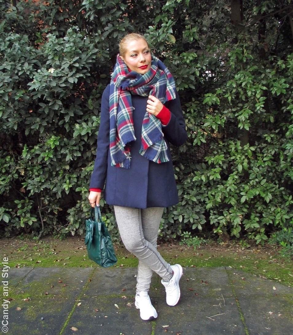 OversizedPlaidScarf+BlueCoat+Jeggings+WhiteTrainers+BowBag+HighPonytail+RedLips - Lilli Candy and Style Fashion Blog
