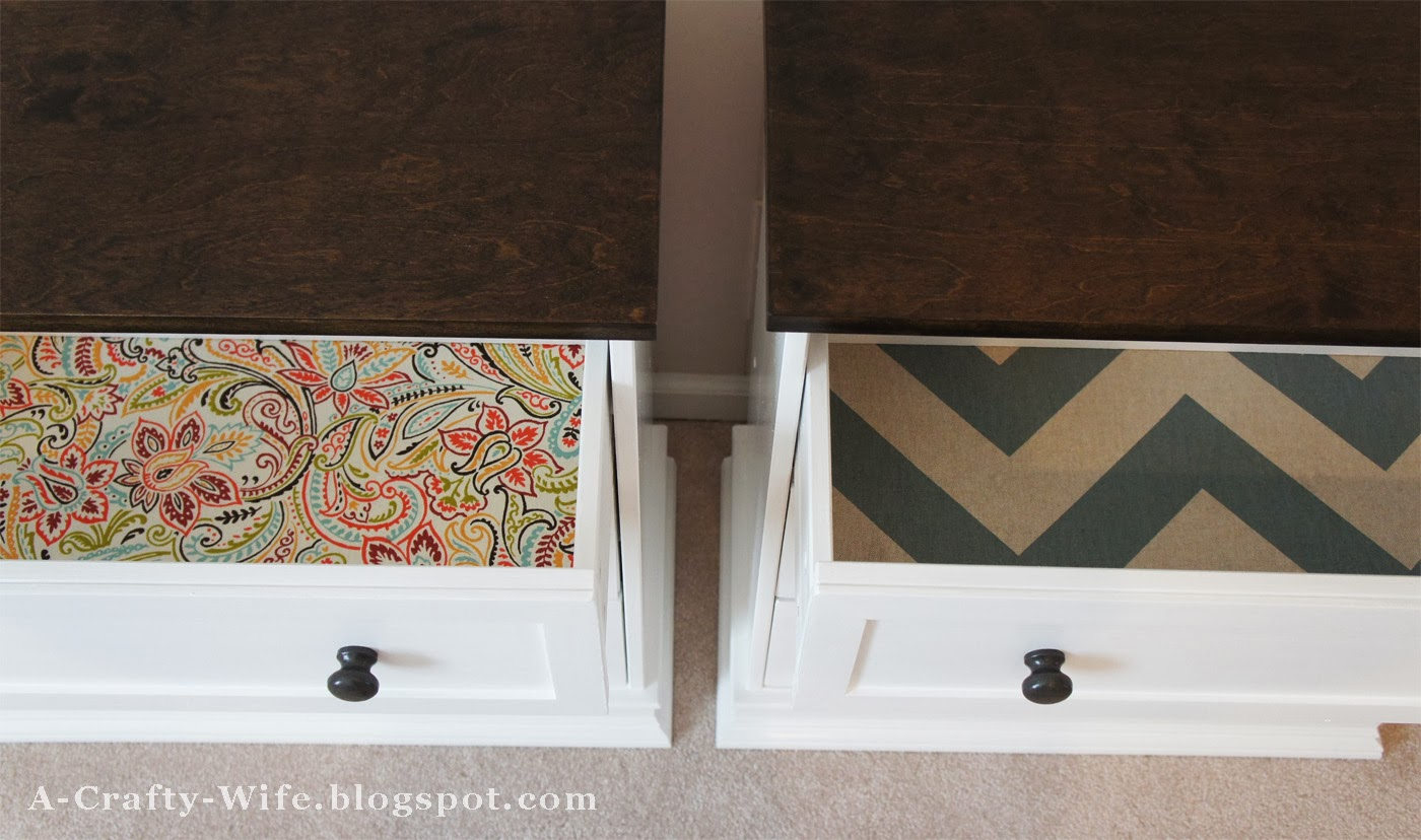 Adding fabric to drawer bottoms and stained wood top to Ikea Rast hack for bedside tables | A Crafty Wife