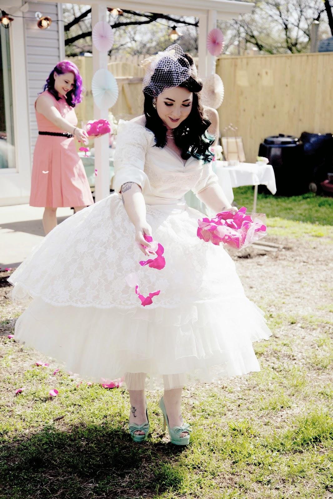 Lola, Tangled: DIY Vintage Backyard Wedding on a Tiny Budget