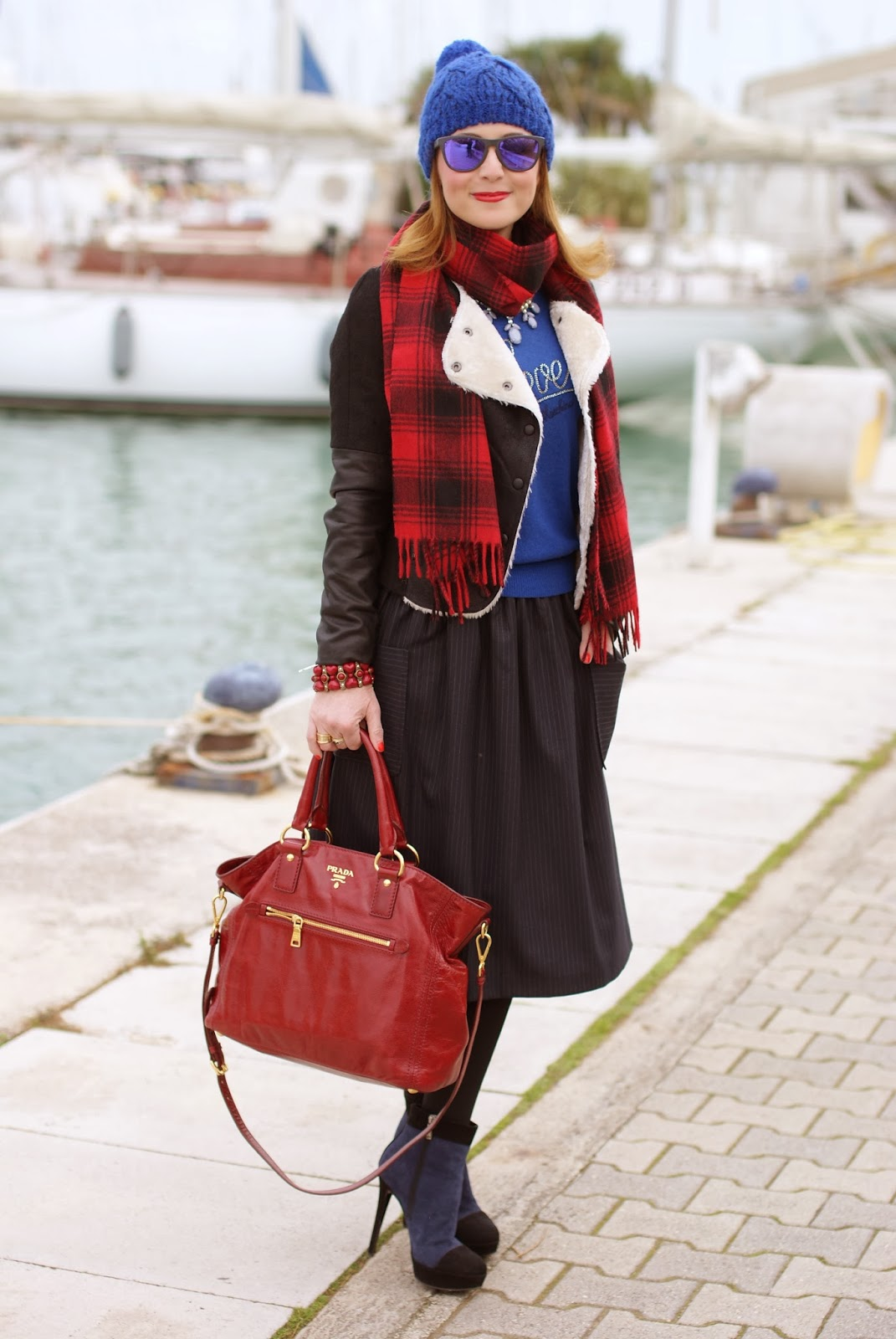 cobalt blue beanie, eco shearling, red Prada tote, pinstripe midi skirt, Fashion and Cookies, fashion blogger