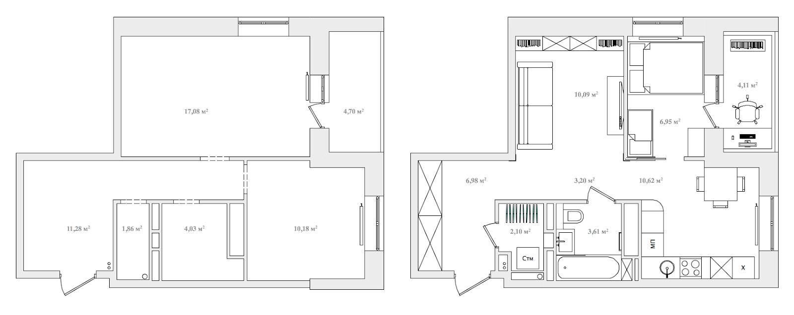 Дизайн малогабаритной двухкомнатной квартиры 37 кв м