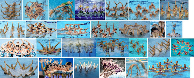 Figuras de ejercicios equipo español de sincro