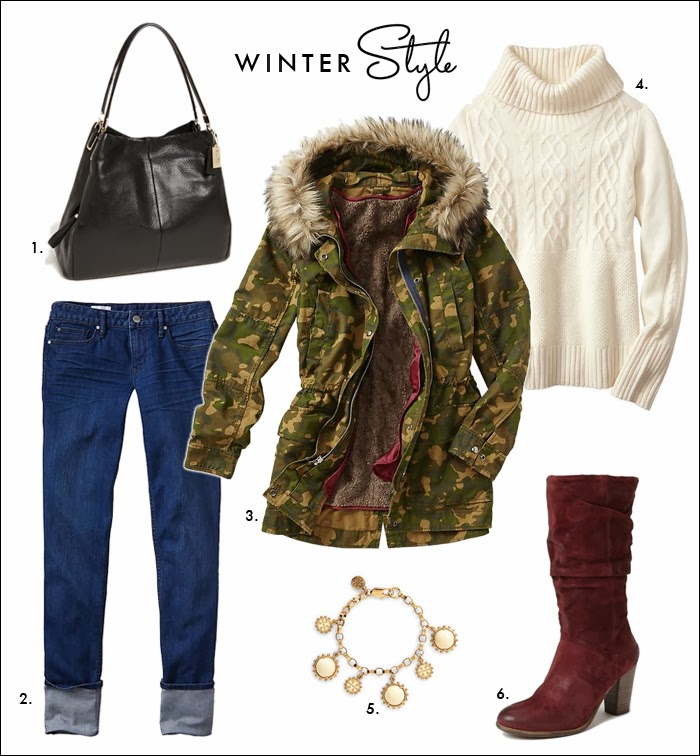 styles for less, look for less, copy the look, chunky sweaters, camo jackets, faux fur, slouchy boots, how to wear skinny jeans, gap, nordstrom, steve madden