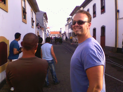 Travis Bowman in the street during a traditional Portuguese bullfight on Terceira Island, Azores