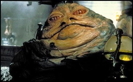 """Jabba el hutt en """"El retorno del Jedi"""" (1983)"""