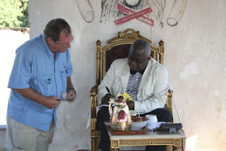Julian Monroe Fisher with Mwenda-Bantu Munongo Godefroid Mwami, the king of the Garanganze people of Katanga