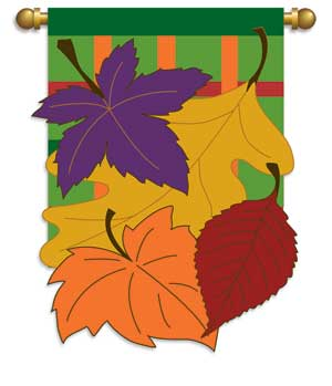 autumn leaves applique fall garden flag