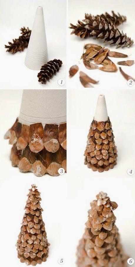 DIY, Arbol de Navidad con Piñas de Pino